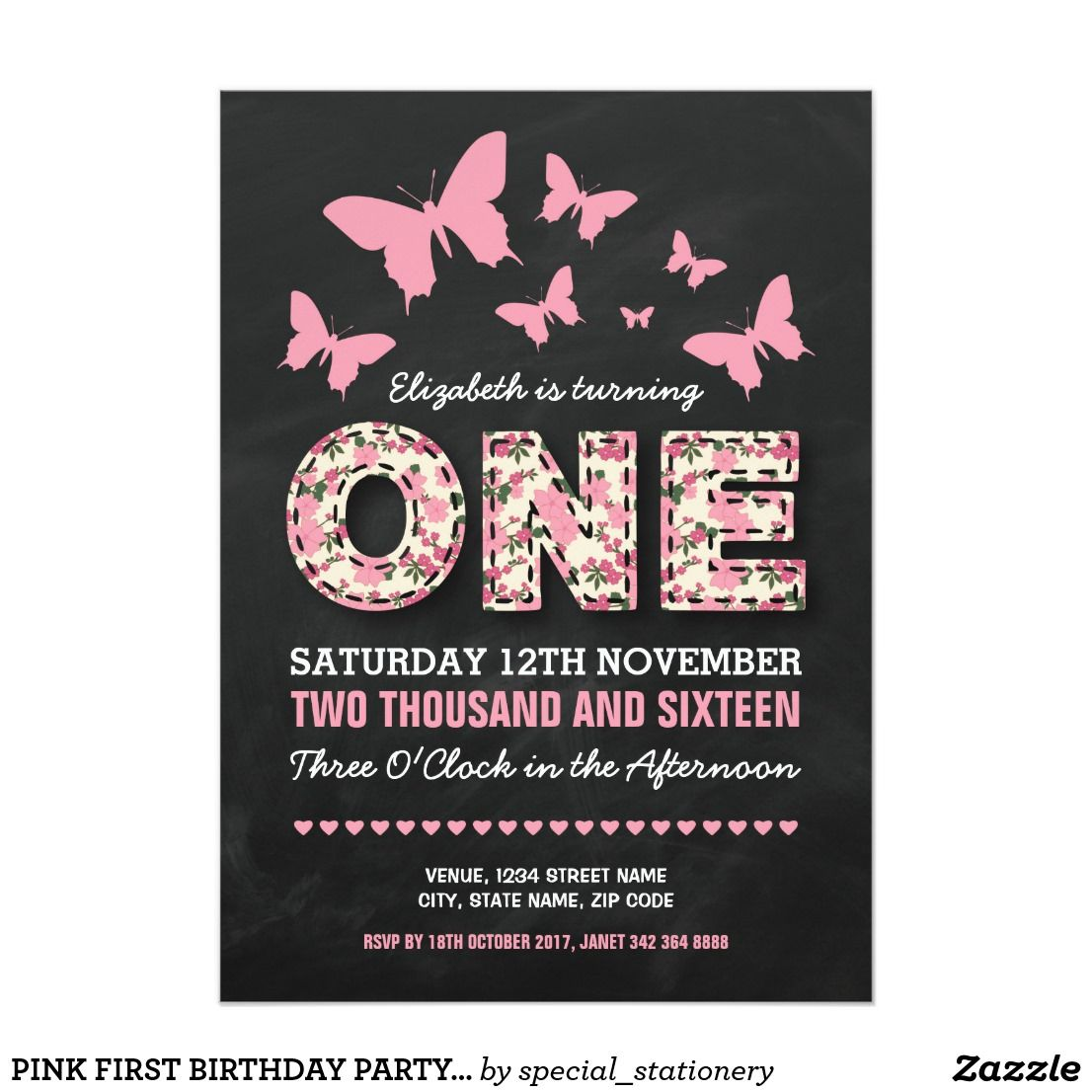Pink first birthday party | floral butterflies invitation