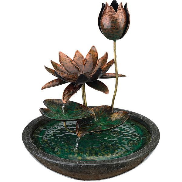 Regal Art & Gift Metal Lotus Fountain ($75) ❤ liked on Polyvore featuring home, home decor, lotus flower home decor and metal home decor