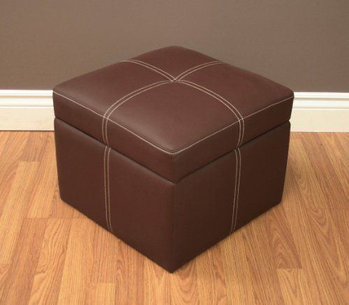 Brown Square Ottoman Storage Foot Rest Seat Living Dorm Room Bedroom Kids  Toys #DHP Part 39