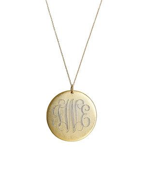 Look what I found on #zulily! Antique Gold Large Disc Monogram Pendant Necklace by Golden Thread #zulilyfinds