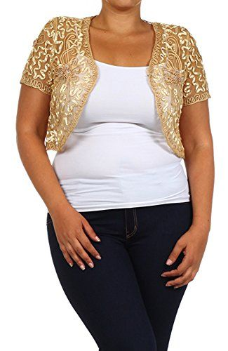 af59b6139c781 curvyluv.com Womens Plus Size Shrug Short Sleeve Sheer Dressy Holiday  Cropped Bolero Cardigan