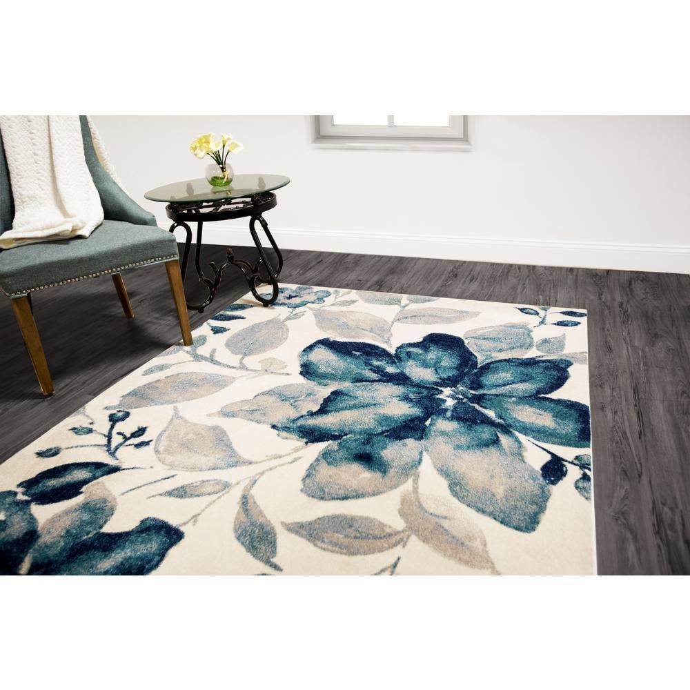 Home Dynamix Bazaar Watercolor Floral Blue Modern 8 X 10 Ft Area Rug Carpet New Rugs On Carpet Rugs Home Dynamix