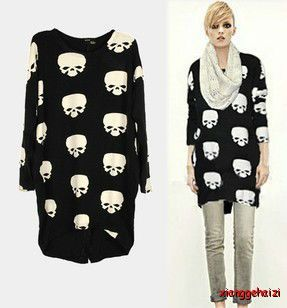 Women Punk Rock Skull Head Loose Knitting Shirt Cotten Blend Long Knitwear Tops | eBay