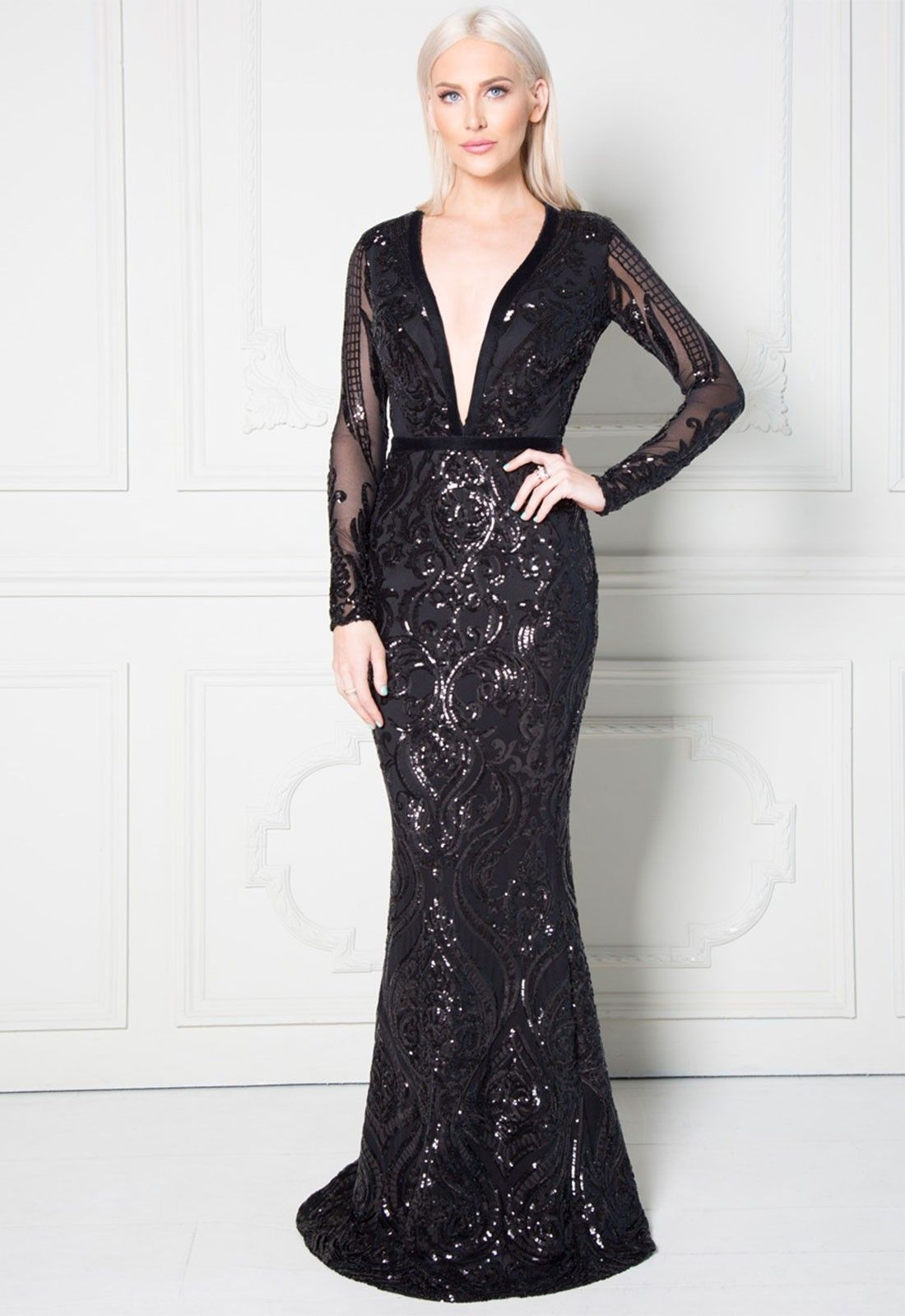 86ac2598f73d7 Stephanie Pratt Deep V Neck Sequin Embroidered Maxi Dress in Black ...
