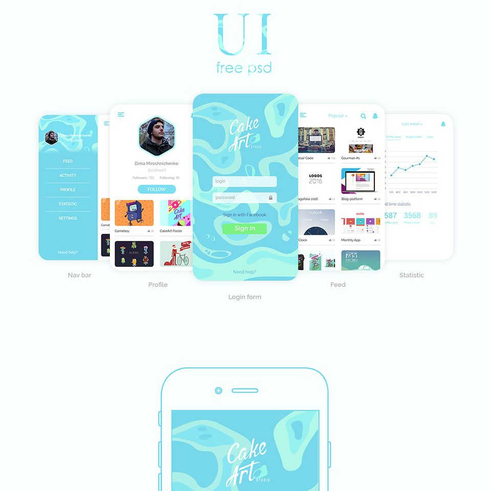 elegant social mobile app design templates free psd free ui ux kit