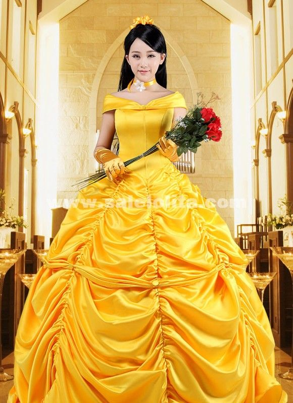 Disney princess belle yellow dress with cape