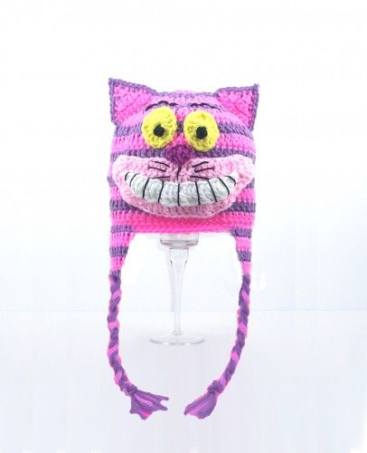 Cheshire Cat Inspired Hat Fairy Tale Cat Disney Inspired Hat Pink and Purple Hat Halloween Preemie Baby Infant Teen Adult Winter Knitted Hat