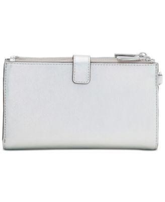 62390de068f7c Michael Michael Kors Adele Double-Zip iPhone 7 Plus Wristlet - Silver