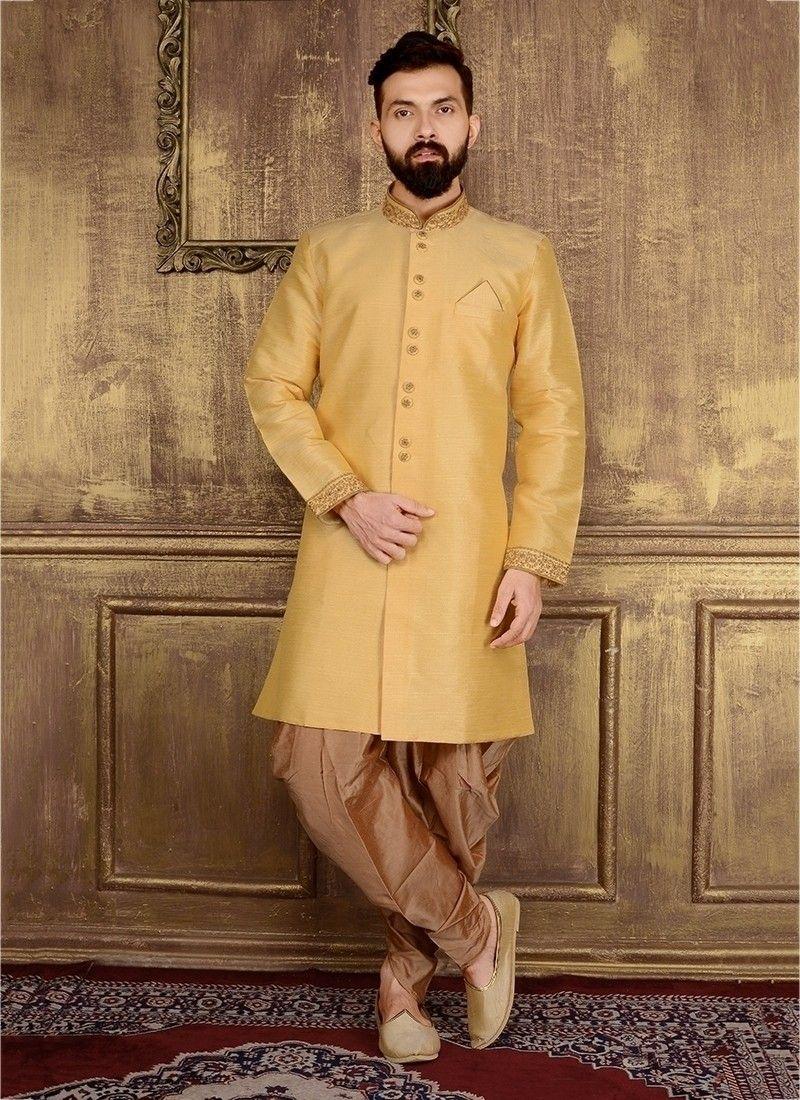 Golden jodhpuri indian banarasi silk sherwani for marriage in
