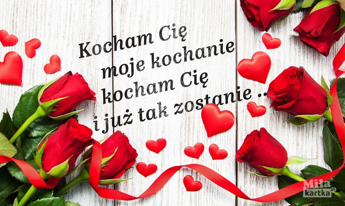 Kartka Kocham Cie Milosc Walentynki Kocham Cie Milosc Kartki