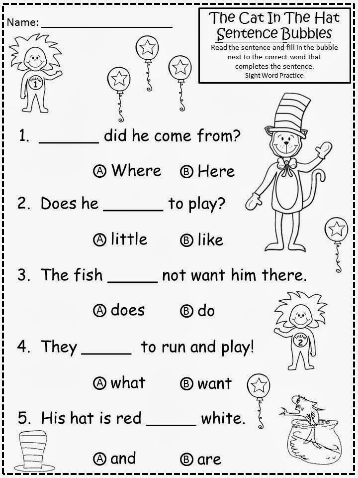 Worksheet Cat In The Hat Sight Word Worksheets free cat in the hat sentence bubbles with sight word practice for educational purposes