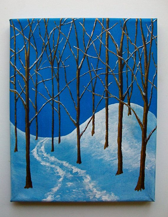 Winter Woods ORIGINAL ACRYLIC PAINTING 8 x 10 by | Etsy