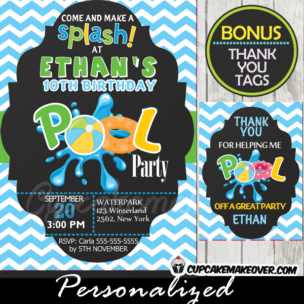 Pool Party Invitation For Boys Blue Chevron, Personalized