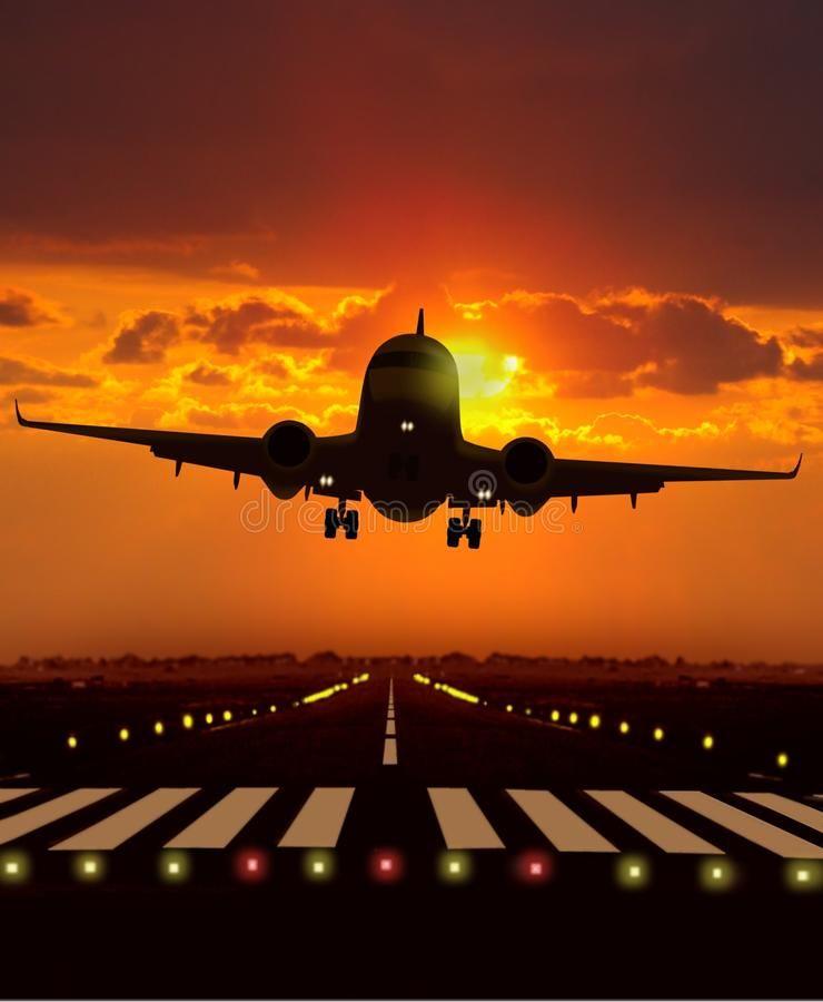Airplane Take Off During Sunset Image Of Airplane Take Off During