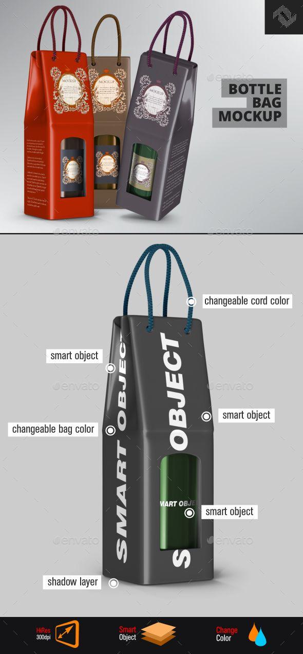 Rope Handle Wine Paper Bag Mockup Mock up, Product presentation