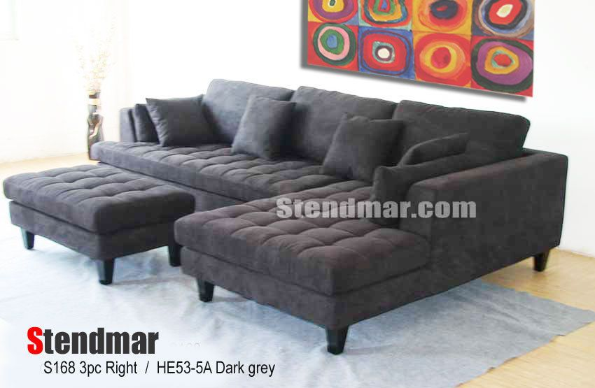 Amazing 3PC NEW MODERN MICROFIBER SECTIONAL SOFA S168RDG StendmarUSA Contemporary For Your House - Luxury charcoal gray sectional sofa Plan