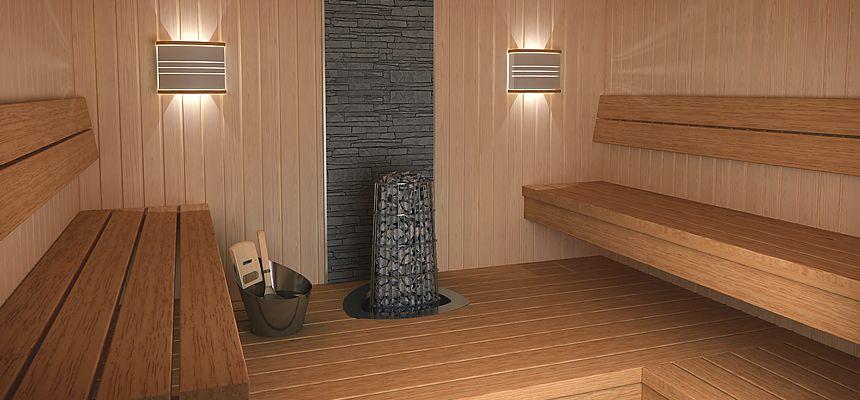 Beispiel Steinwand hinter Sauna-Ofen | Sauna + Wellness | Pinterest ...