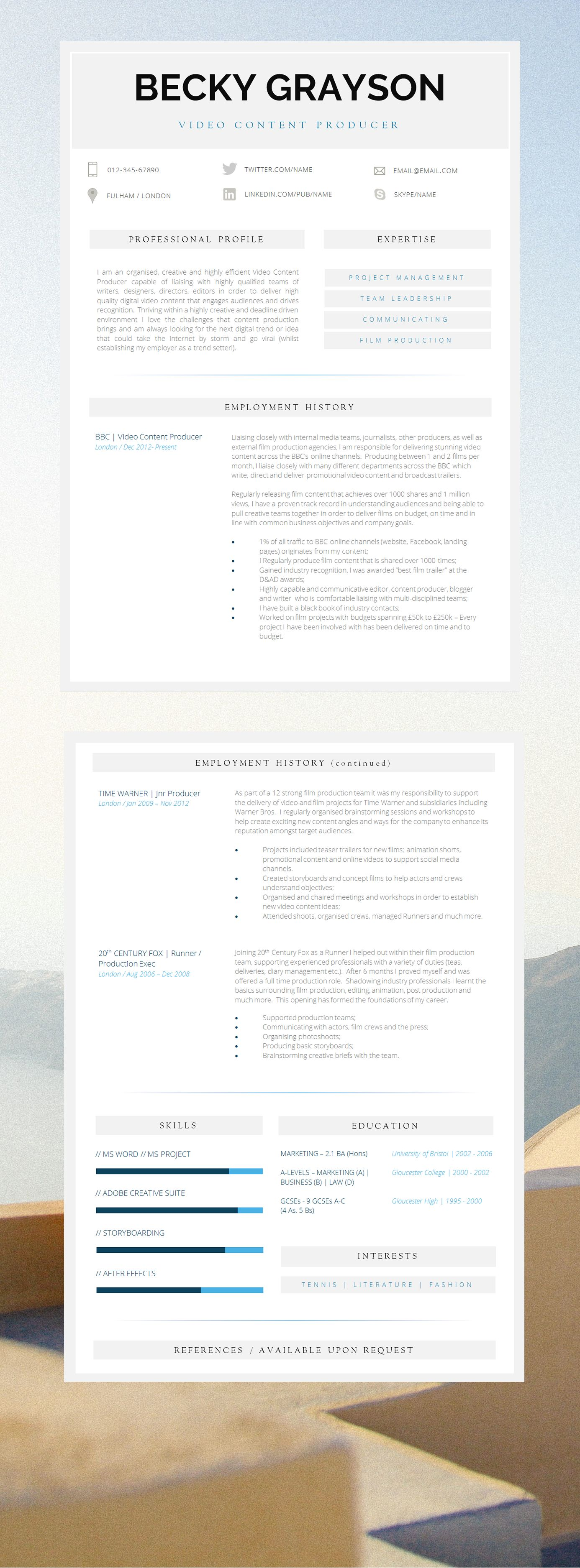 Great Layout | Professional Resume Template | 2 Page Resume Template ...