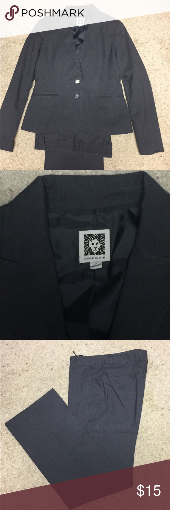 Charcoal grey suit -- jacket and pants Anne Klein charcoal grey suit. Gently worn. Professional. Dry clean only. Tag size 2. No alterations. Anne Klein Other