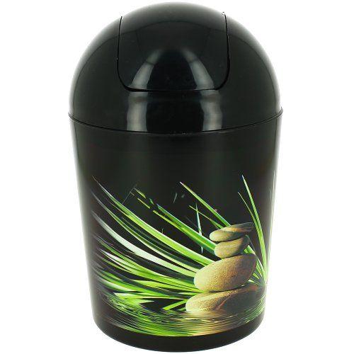 Abfalleimer Für Badezimmer, Zen Design Mit Kieselsteinen Und Bambus, Schwarz