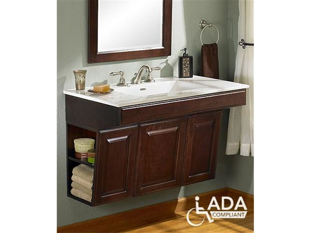 Handicap bathroom sinks and cabinets fairmont designs for Handicapped accessible bathroom plans