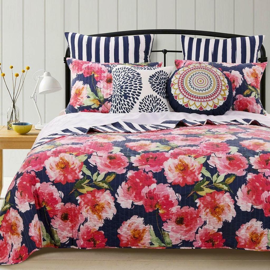 Cottage Roses Floral Stripe Pink Navy Blue Quilt Set Quilt Sets Quilt Sets Bedding Reversible Quilt