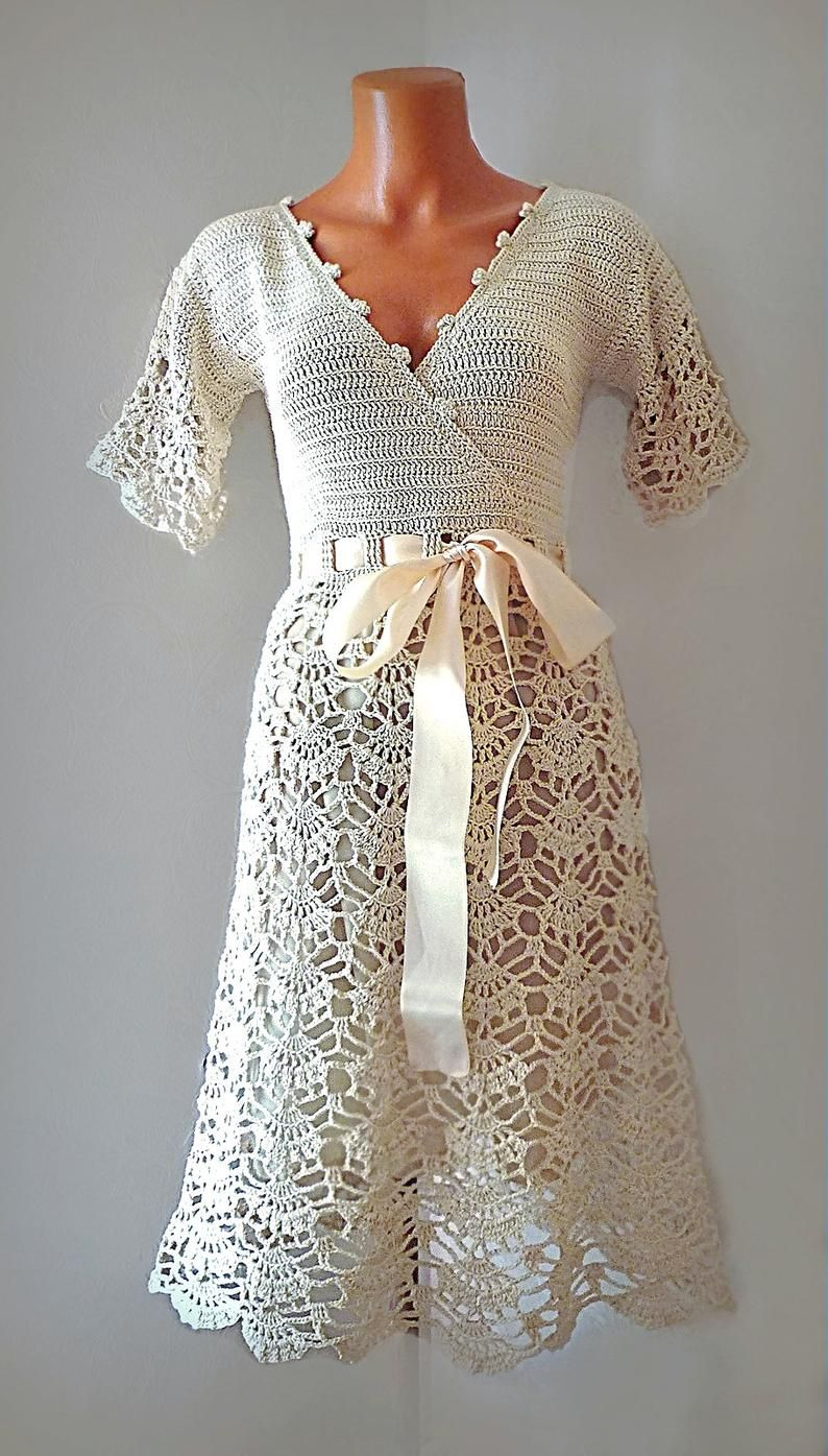 Style 50s Wedding Dress Simple Bridal Gown With Short Etsy Crochet Wedding Dresses Crochet Dress Pattern Crochet Dress Pattern Free [ 1395 x 794 Pixel ]