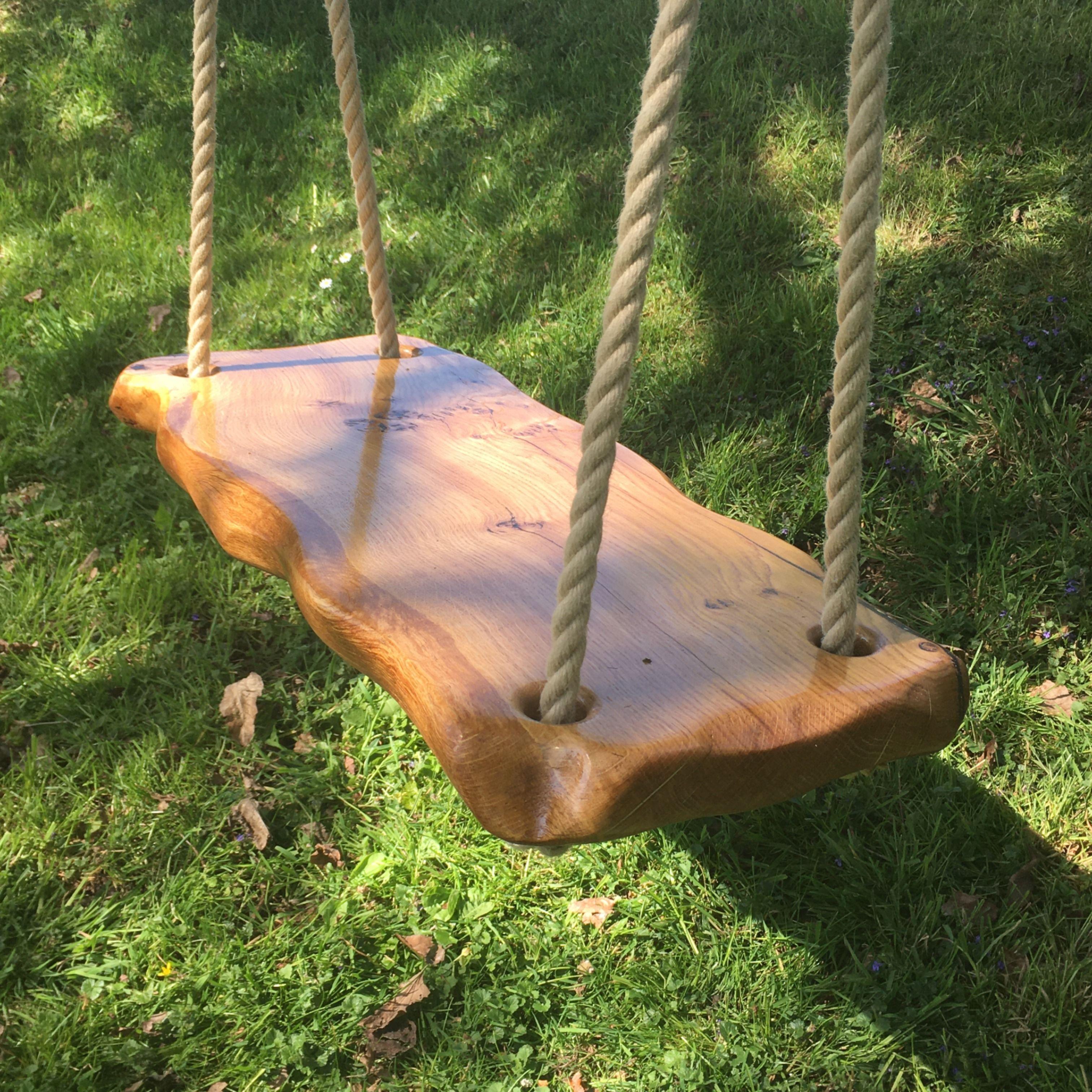 Backyard Swing Adult Tree Swing Wooden Tree Swing Oak Wooden Swing Outdoor Tree Swing Wooden Rope Swing Round Swing