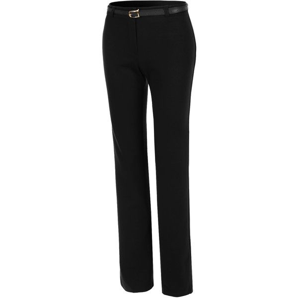 LE3NO Womens Stretchy Relaxed Fit Office Pants ($29) ❤ liked on Polyvore featuring pants, stretchy pants, stretch trousers, relaxed pants, relaxed fit pants i stretch pants
