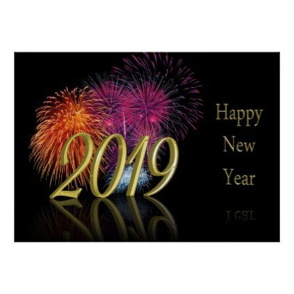 Gold 2019 Happy New Year Fireworks - Poster Print | Zazzle ...