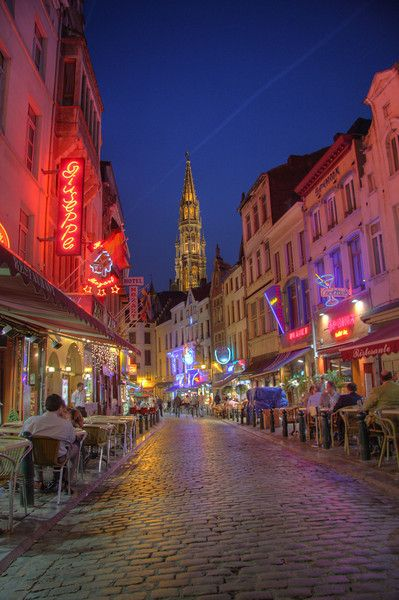 Night life in Brussels, Belgium.