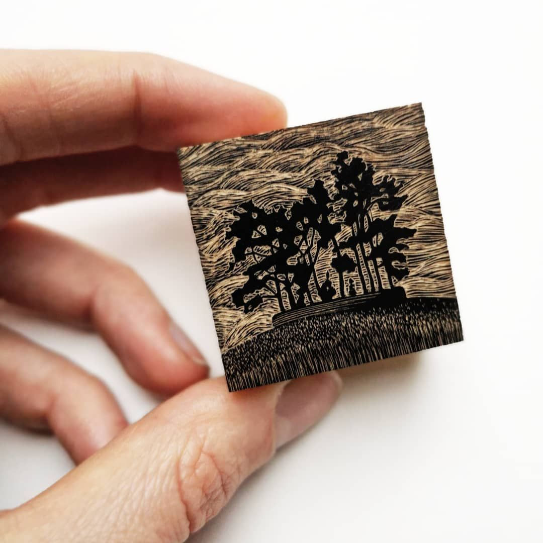 Yesterday I printed this tiny little landscape block