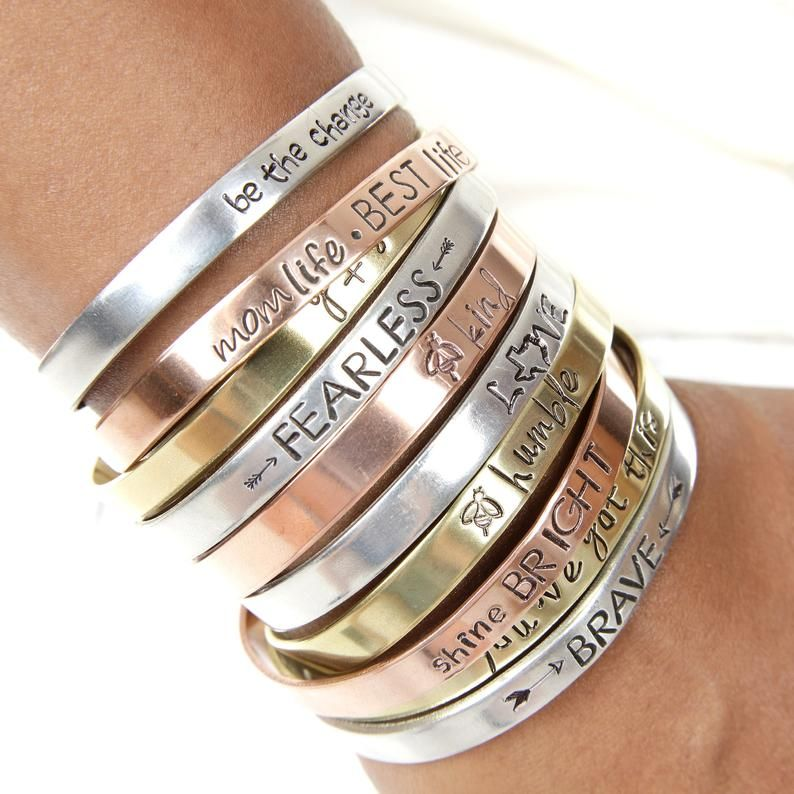 Personalized Jewelry Stacking Bracelet Thick Silver Bangle Custom Stamped with Kids Names Layering Bracelet Quote Bracelet Initial Jewelry