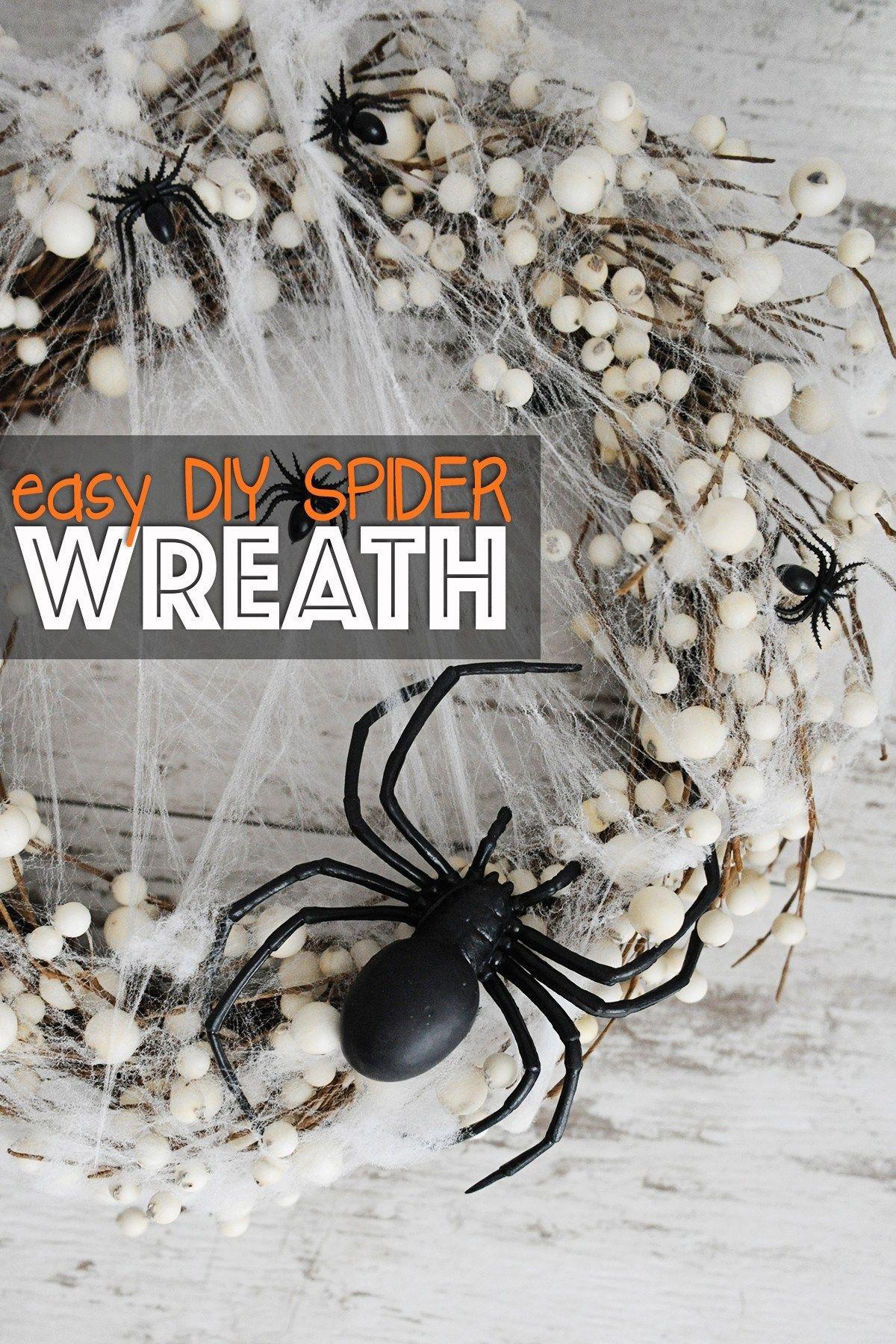 Easy DIY Spider Wreath for Halloween - Pink Peppermint Design