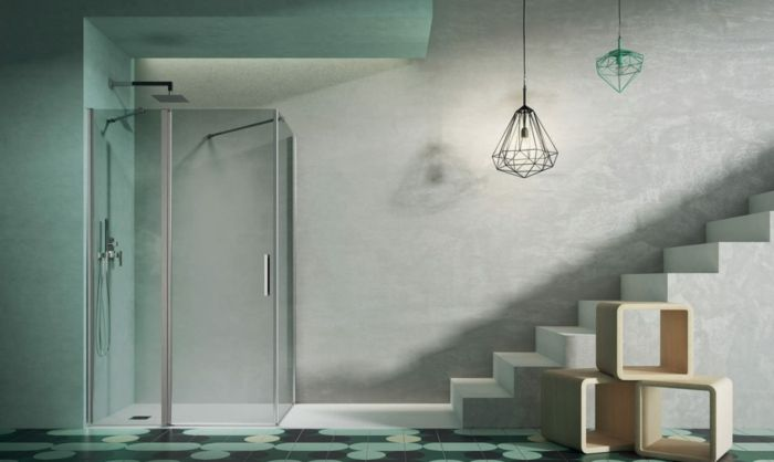 duchas de obra, casa moderna, cabina de ducha transparente de vidrio, escaleras de cemento, lámparas colgantes