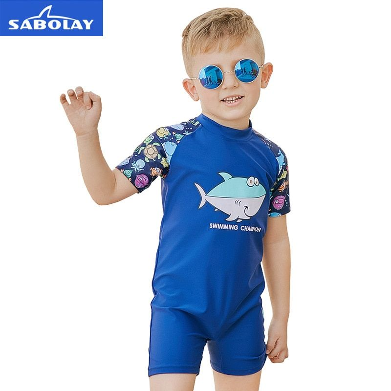 Kids Baby Boys One-Pieces Cartoon Shark Rash Guard Swimsuit Sun Protection Surfing Suits Beach Swimwear with Hat