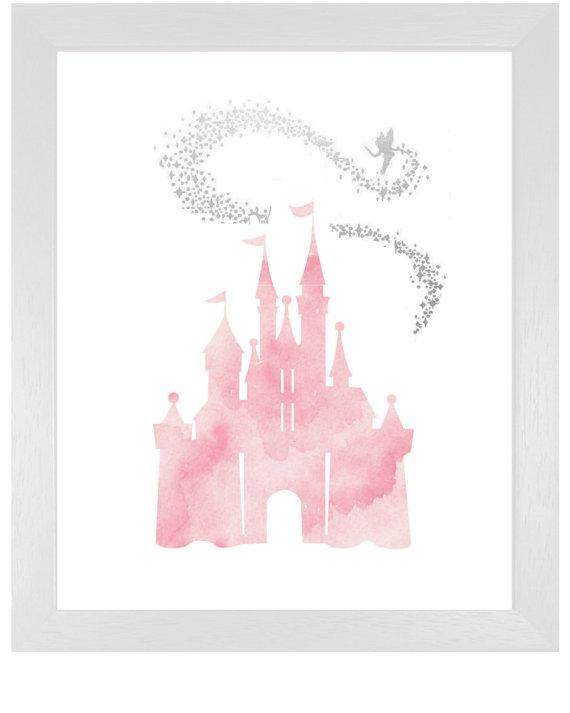 Pink Cinderella Castle With Tinkerbell Diy Printable Pink Watercolor Princess Castle Fairy Tale Disney Art Print Picture Girls Nursery Art Nursery Art Girl Nursery Art Cinderella Castle