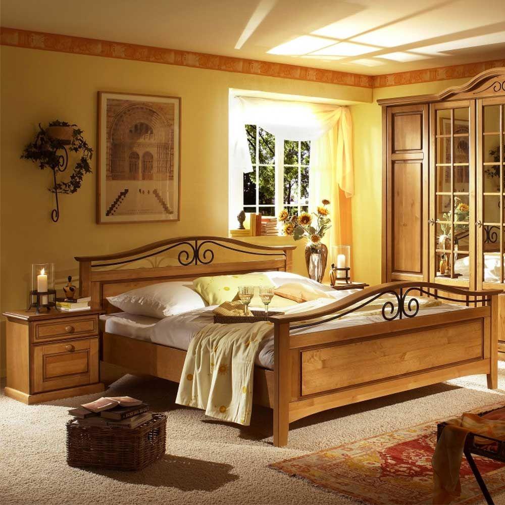 Schlafzimmer Set In Honigfarben Pinie Massivholz 3 Teilig Home