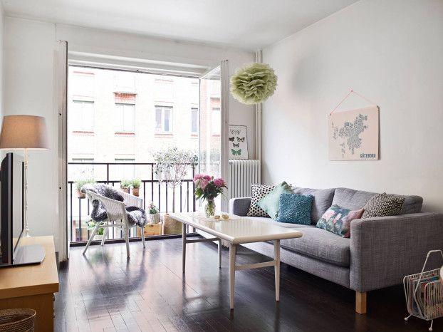 Two door opening scandinavian living room balcony google for Living room balcony design