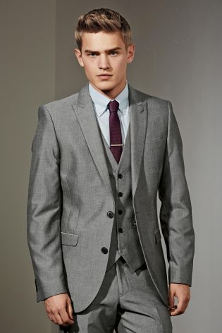 Buy Light Grey Suit: Jacket from the Next UK online shop | Wedding ...