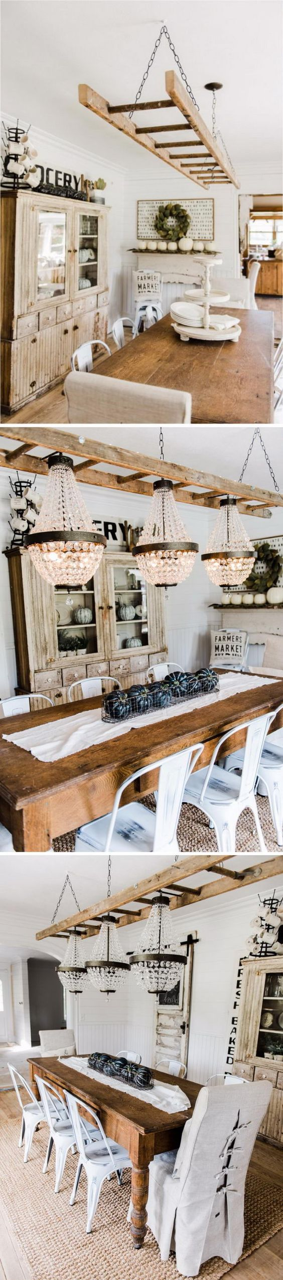 Rustic ladder with edison bulb lights for the home pinterest