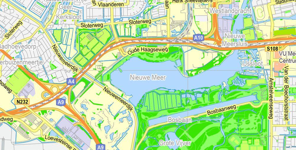 Printable Map Amsterdam Herlands Vector Adobe: Amsterdam Map Printable At Slyspyder.com