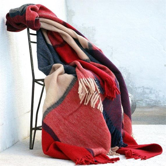 Throws For Sofa Wool Blanket Twin Throw Red Navy