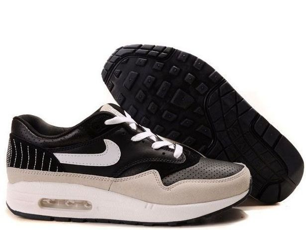 Fake Mens Nike Air Max 1 Premium SP Black White Medium Grey Shoes $42.98