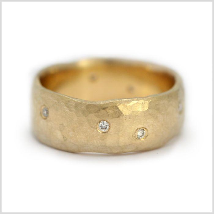 Diamond Ring Handmade Bespoke Gold Platinum Palladium Contemporary Wedding Engagement Organic Hammere Modern Stud Earrings Handmade Rings Gold Diamond Earrings