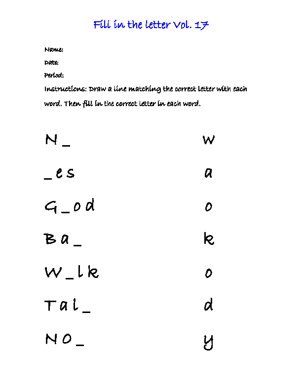 Fill In The Letter Vol   Great English Tools