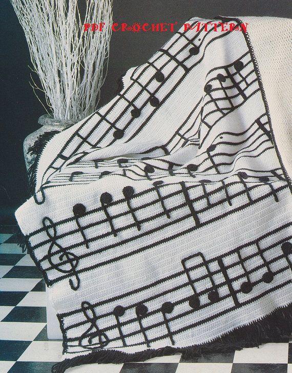 Crochet Musical Notes Afghan Pattern #KC0447, Intermediate Skill ...
