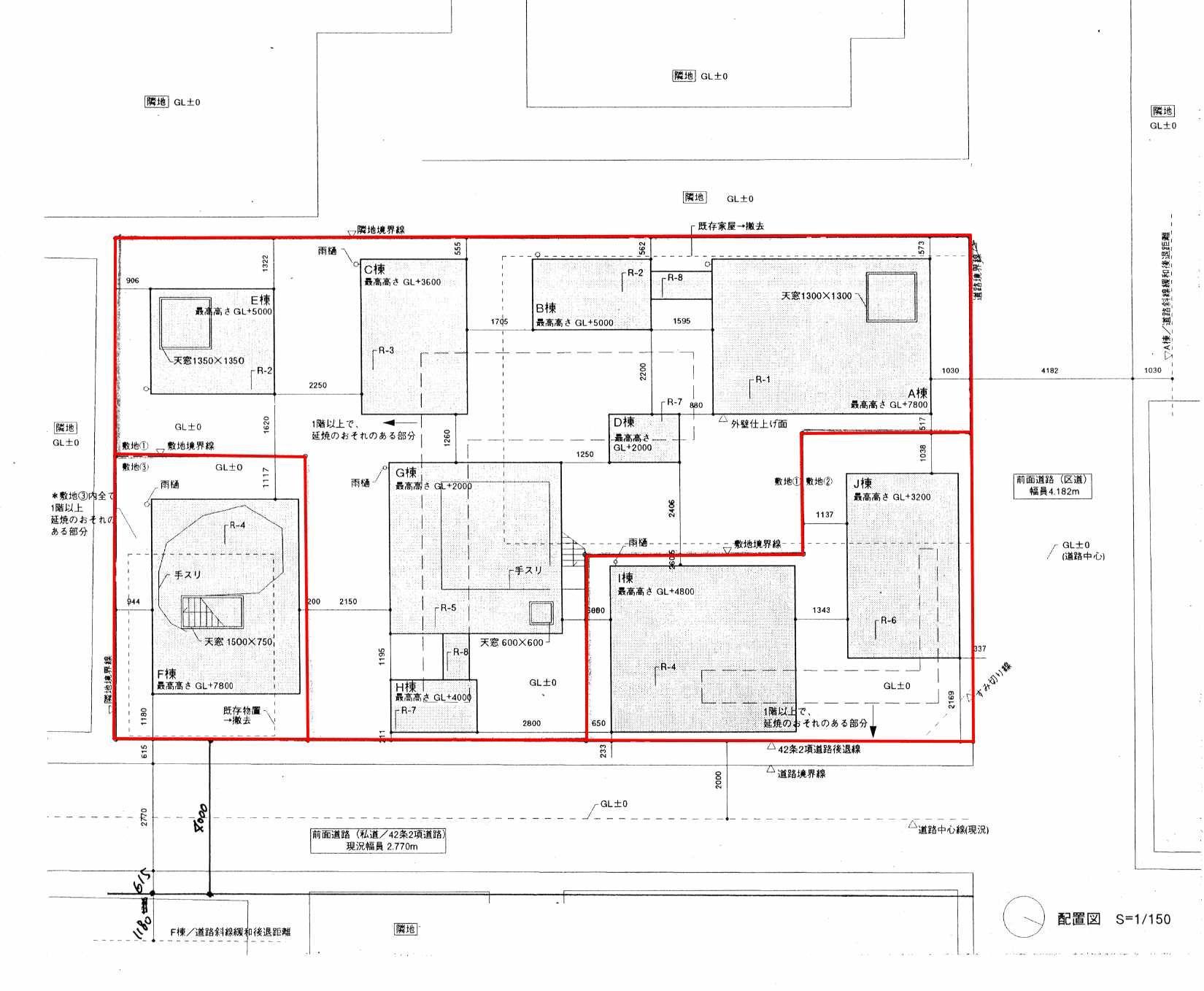森山邸配置図 平面図 建築図面 配置図
