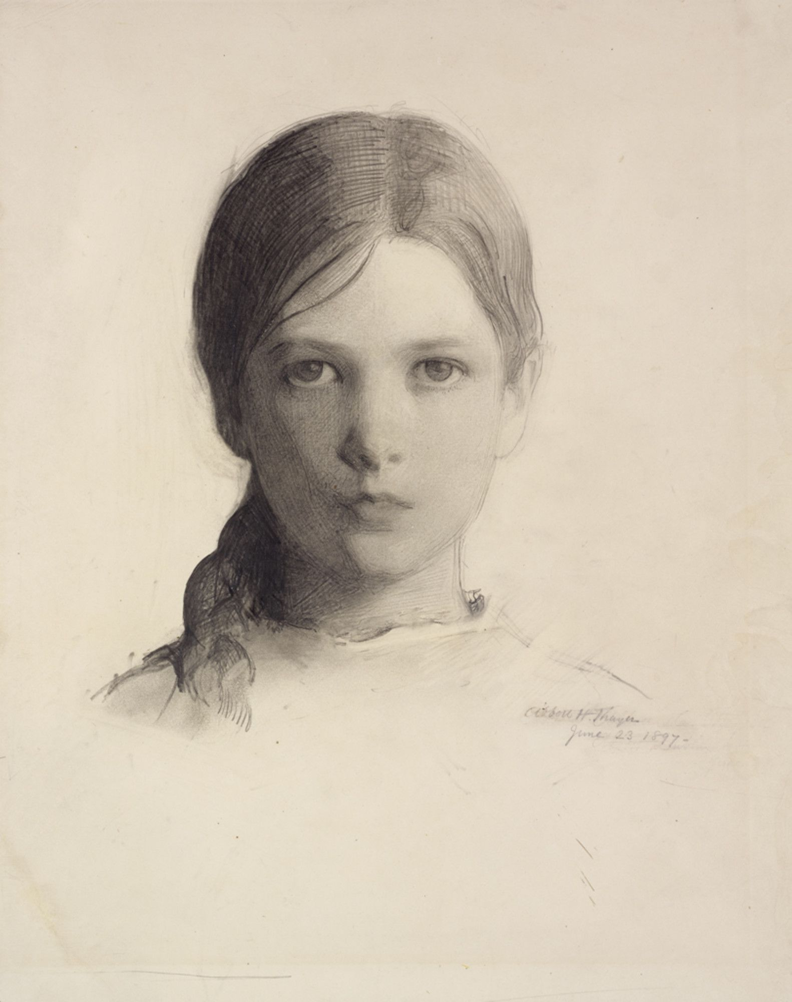 Abbott Handerson Thayer (1849-1921), Portrait Head of a Young Girl (Gladys Thayer at 11), 1897, Crayon on wove paper | RISD MUSEUM