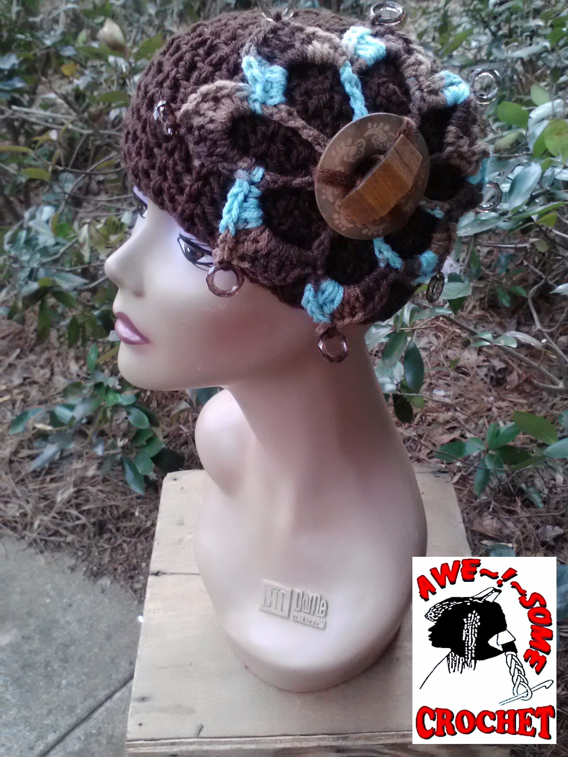 Aaliyah Hat (Arabic/Hebrew meaning high,  exalted,to ascend) beaded and wooden embellishments (DAY 93) AWE!Some Crochet #hat by Gina Renay .... available for purchase